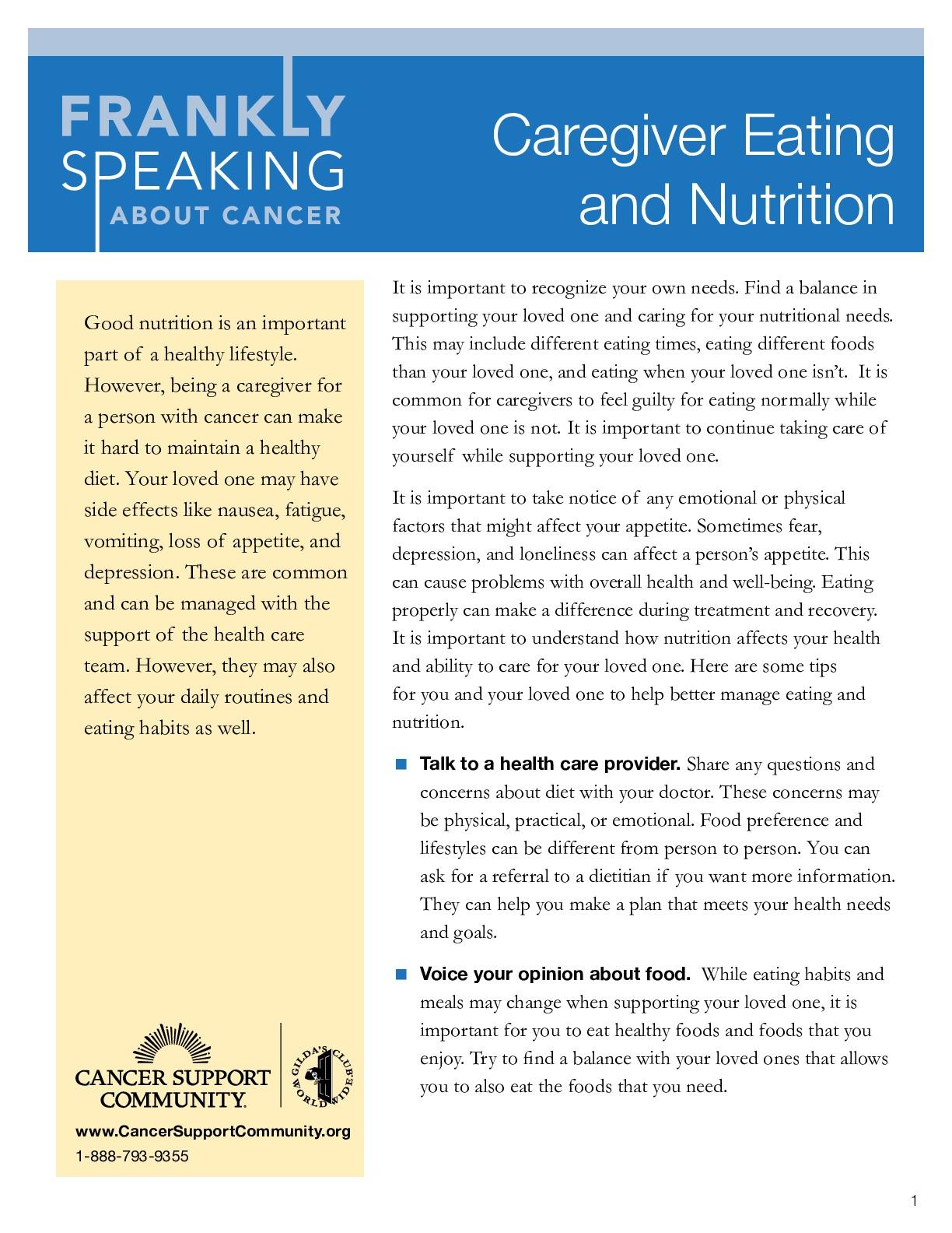 Caregiver Eating Nutrition