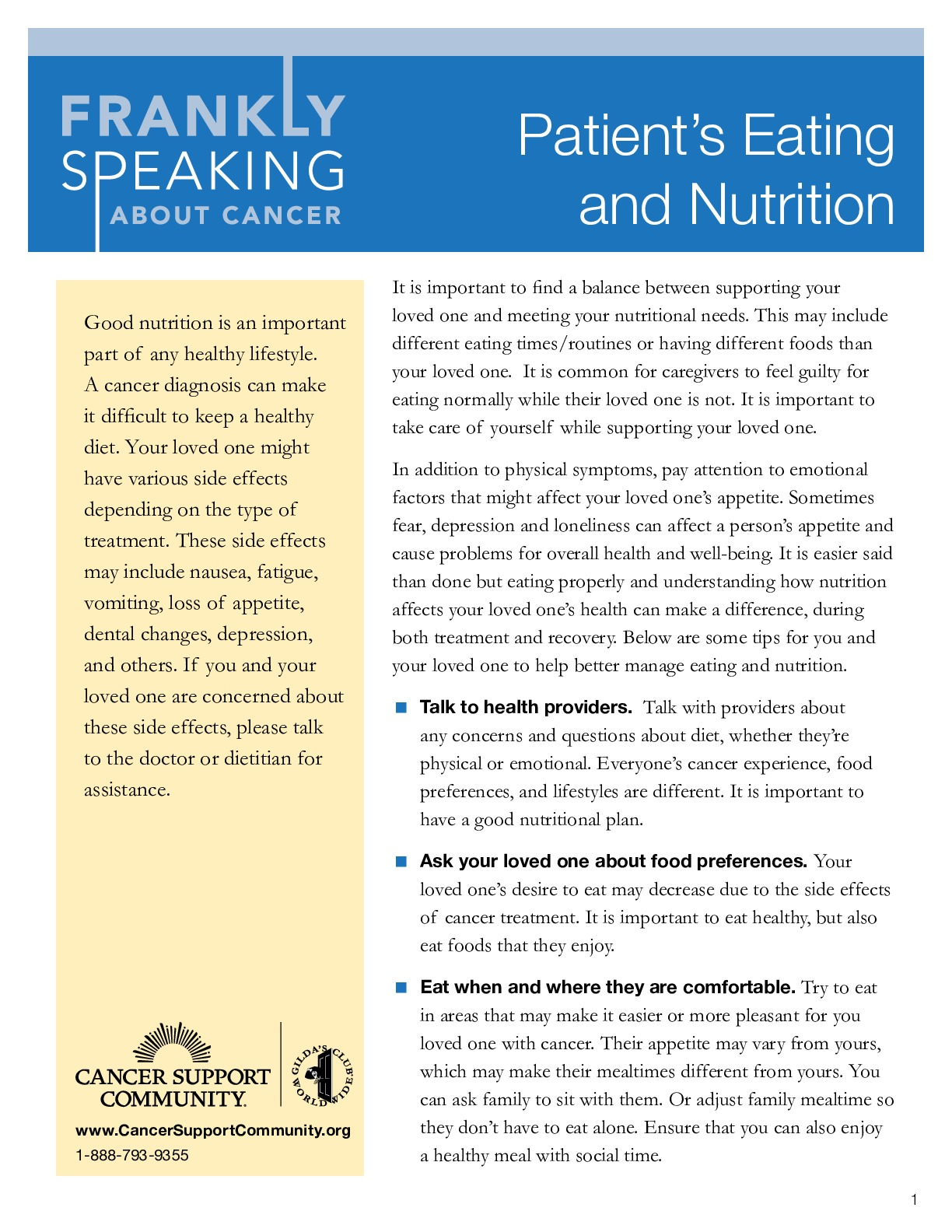 Patients Eating and Nutrition