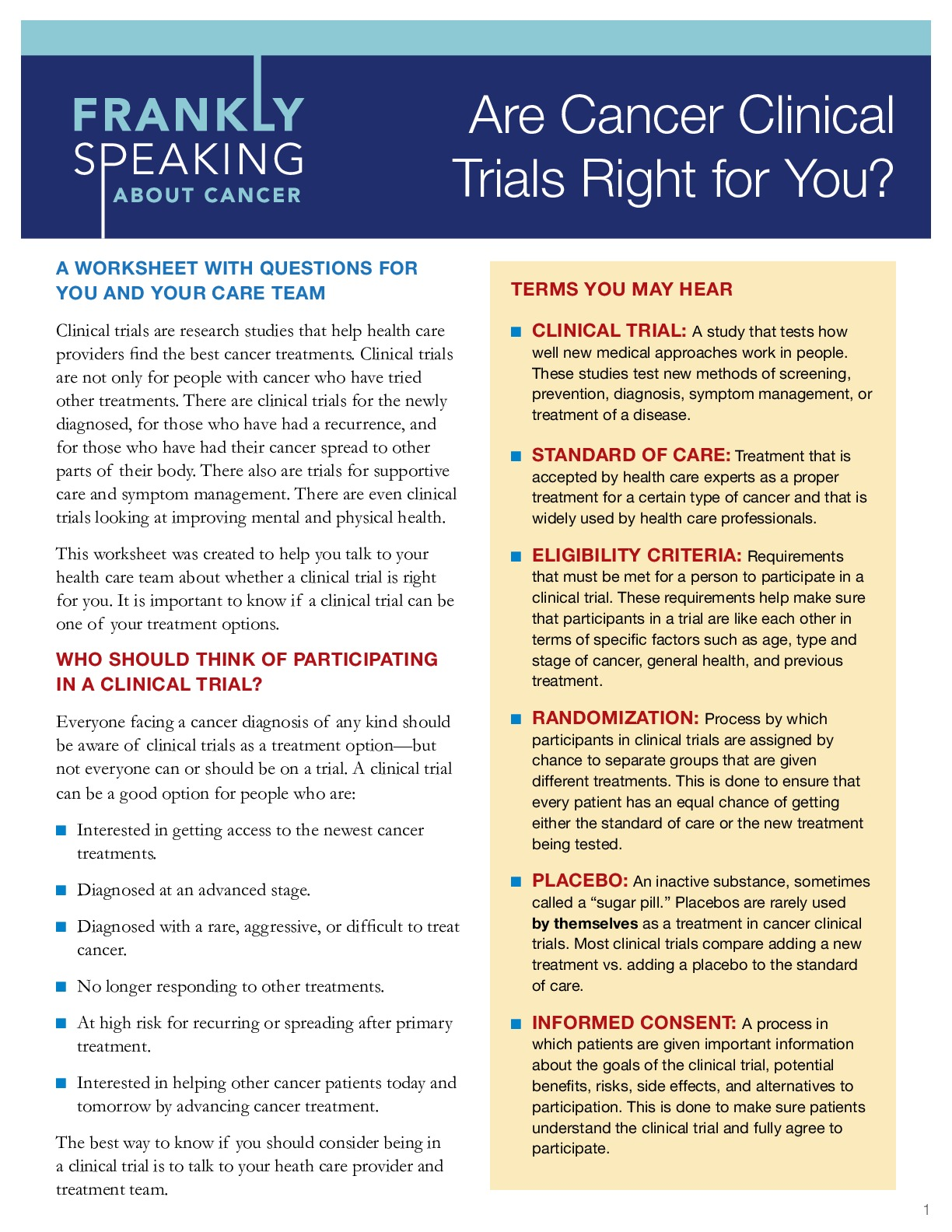 Are Clinical Trials Right for You? A Worksheet With Questions for You and Your Care Team
