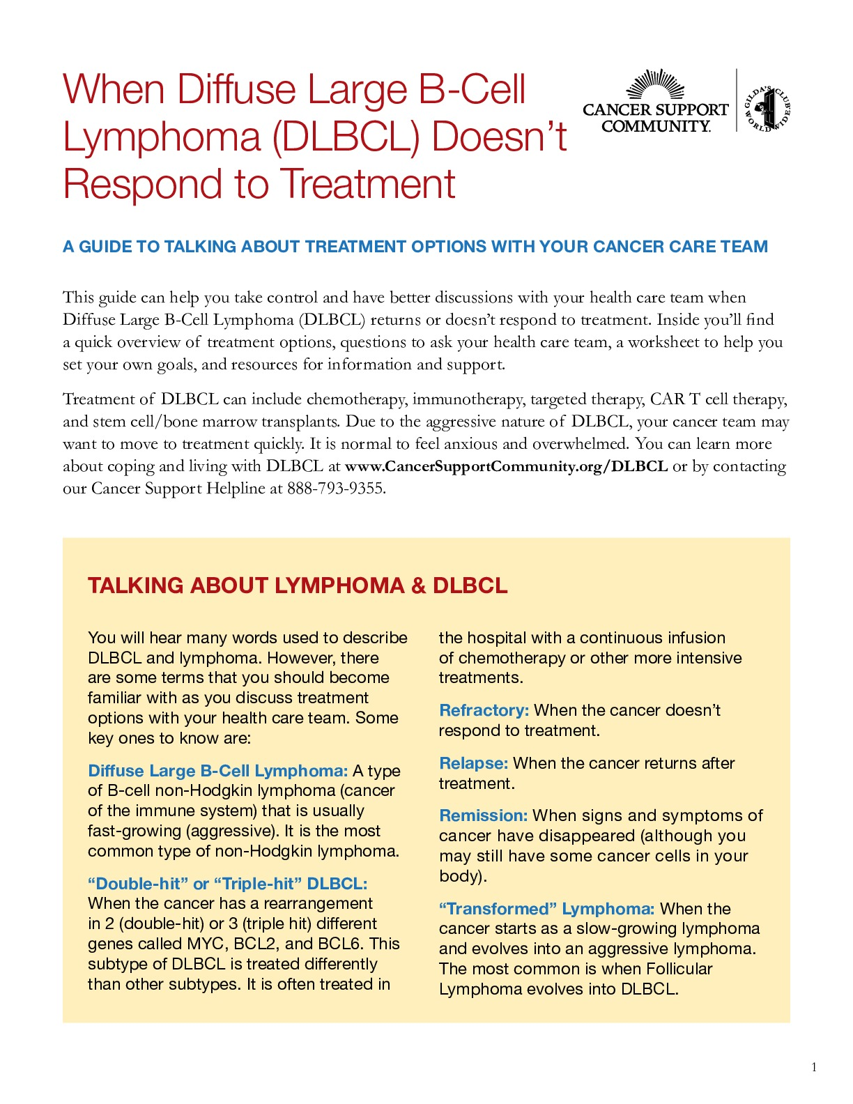 Preparing for Your Doctor's Visit: A Worksheet for Relapsed/Refractory DLBCL