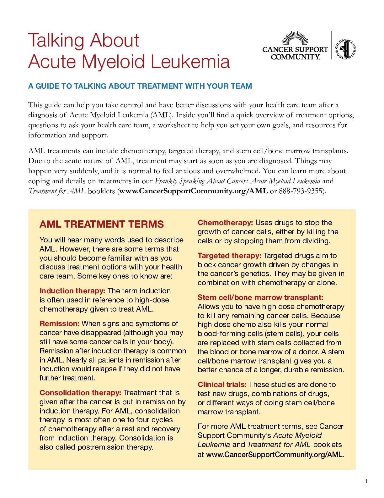 Talking About Acute Myeloid Leukemia (AML)