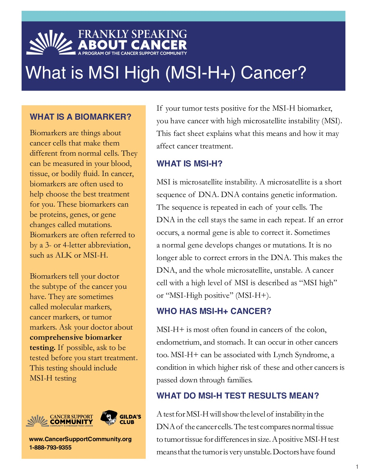 What Is MSI High (MSI-H+) Cancer?
