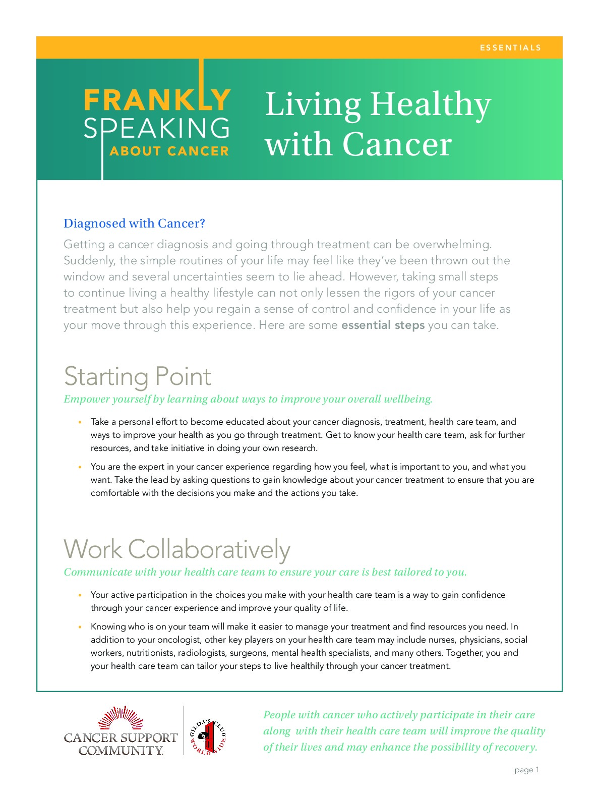 Frankly Speaking About Cancer: Living Healthy with Cancer
