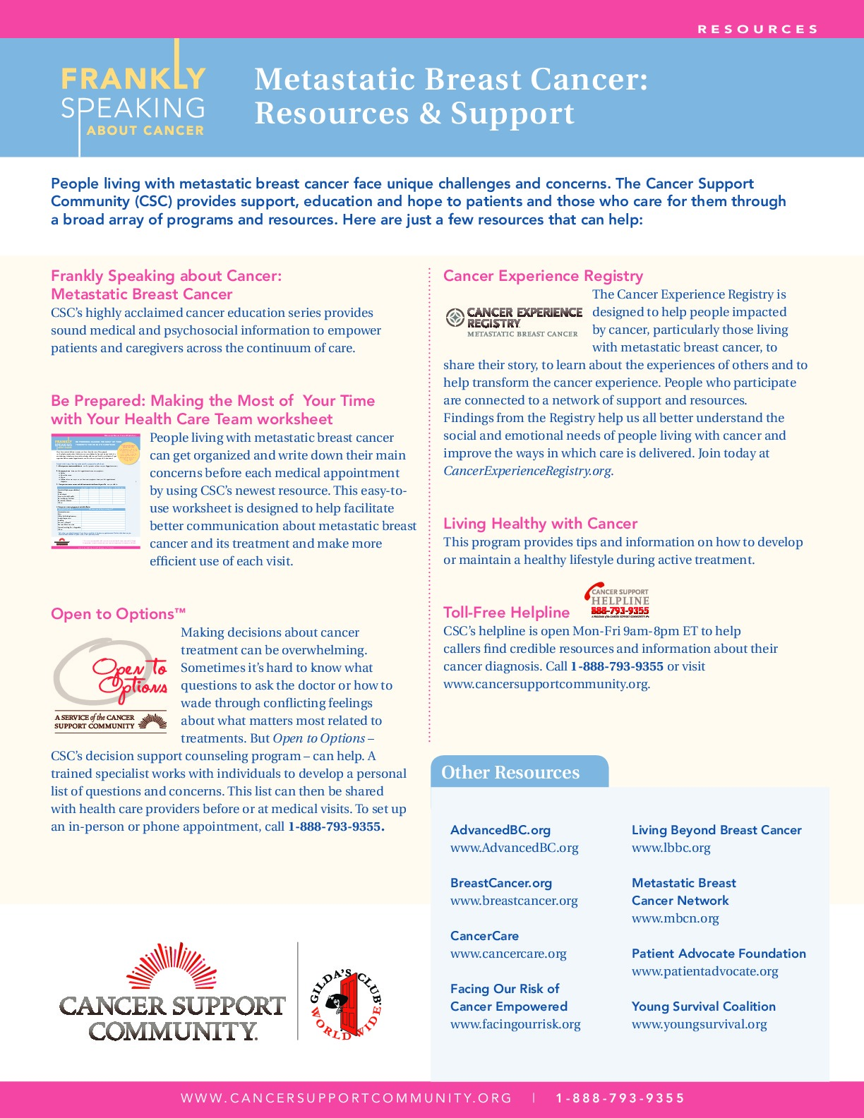 Frankly Speaking About Cancer: Metastatic Breast Cancer Resources and Support
