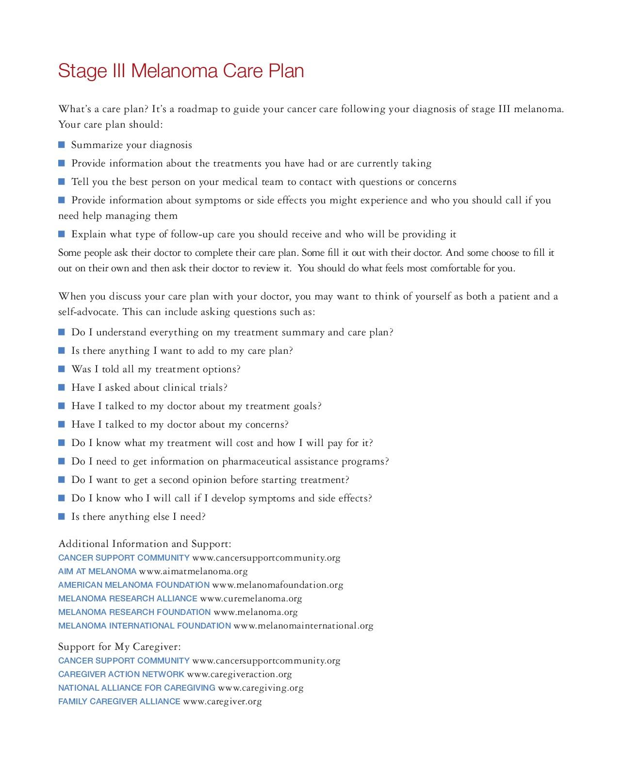 Melanoma Care Plan