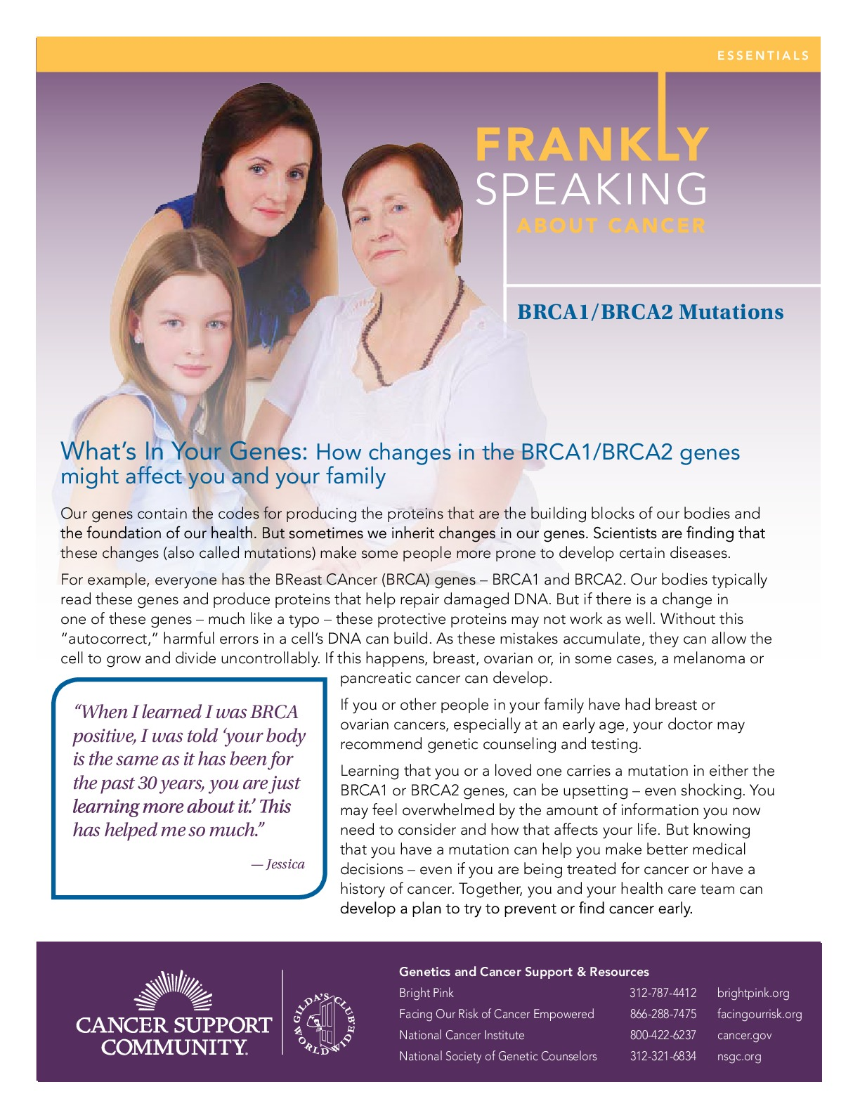 Frankly Speaking About Cancer: BRCA1/BRCA2 Mutations