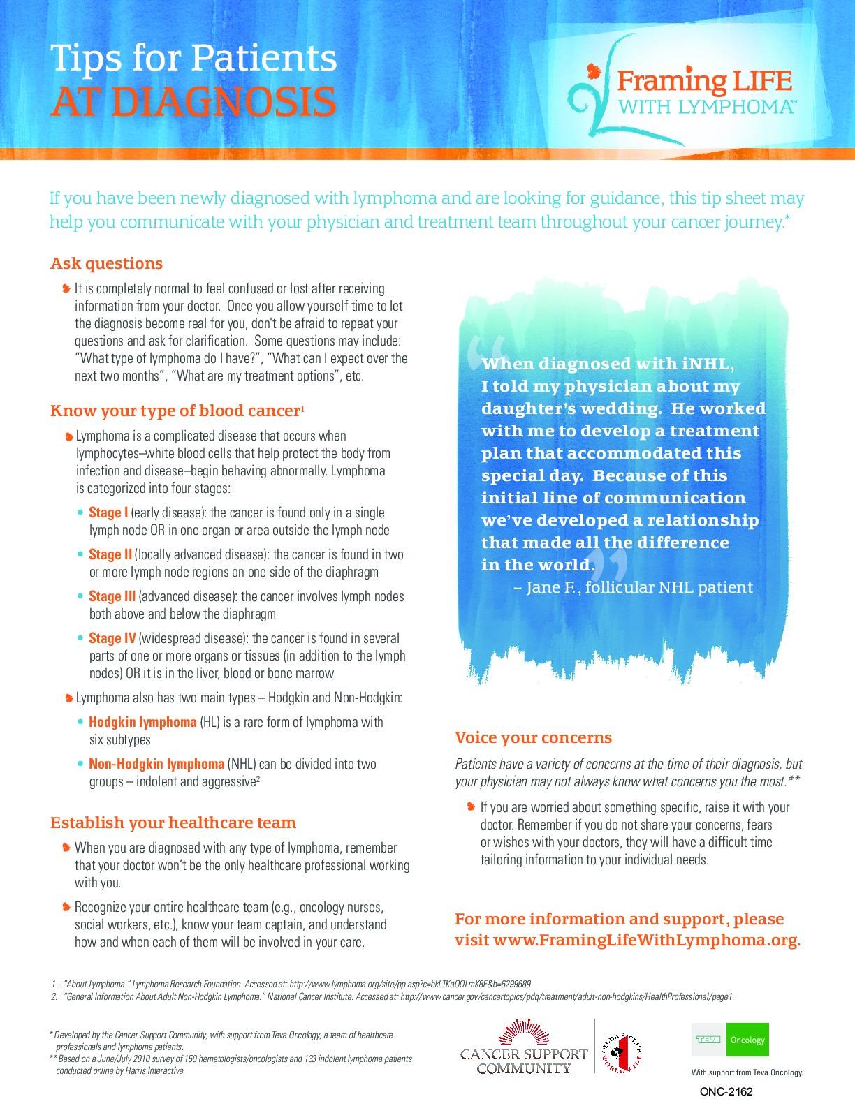 Tips for Patients at Diagnosis (Lymphoma)