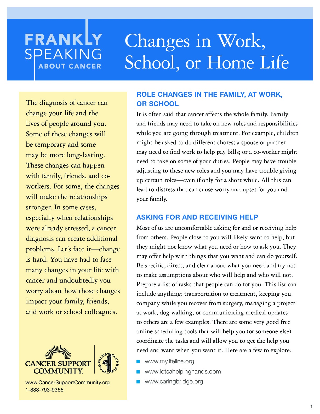 Changes in Work, School, or Home Life