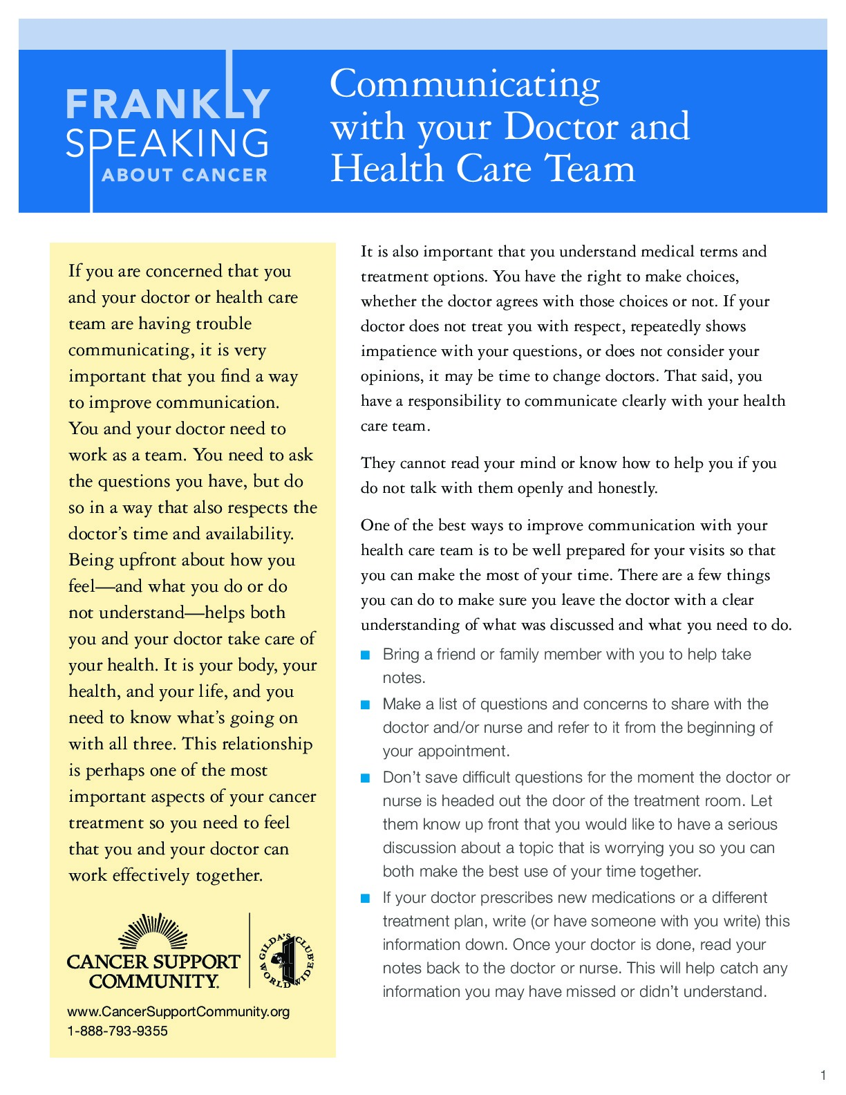 Communicating with Your Doctor and Health Care Team
