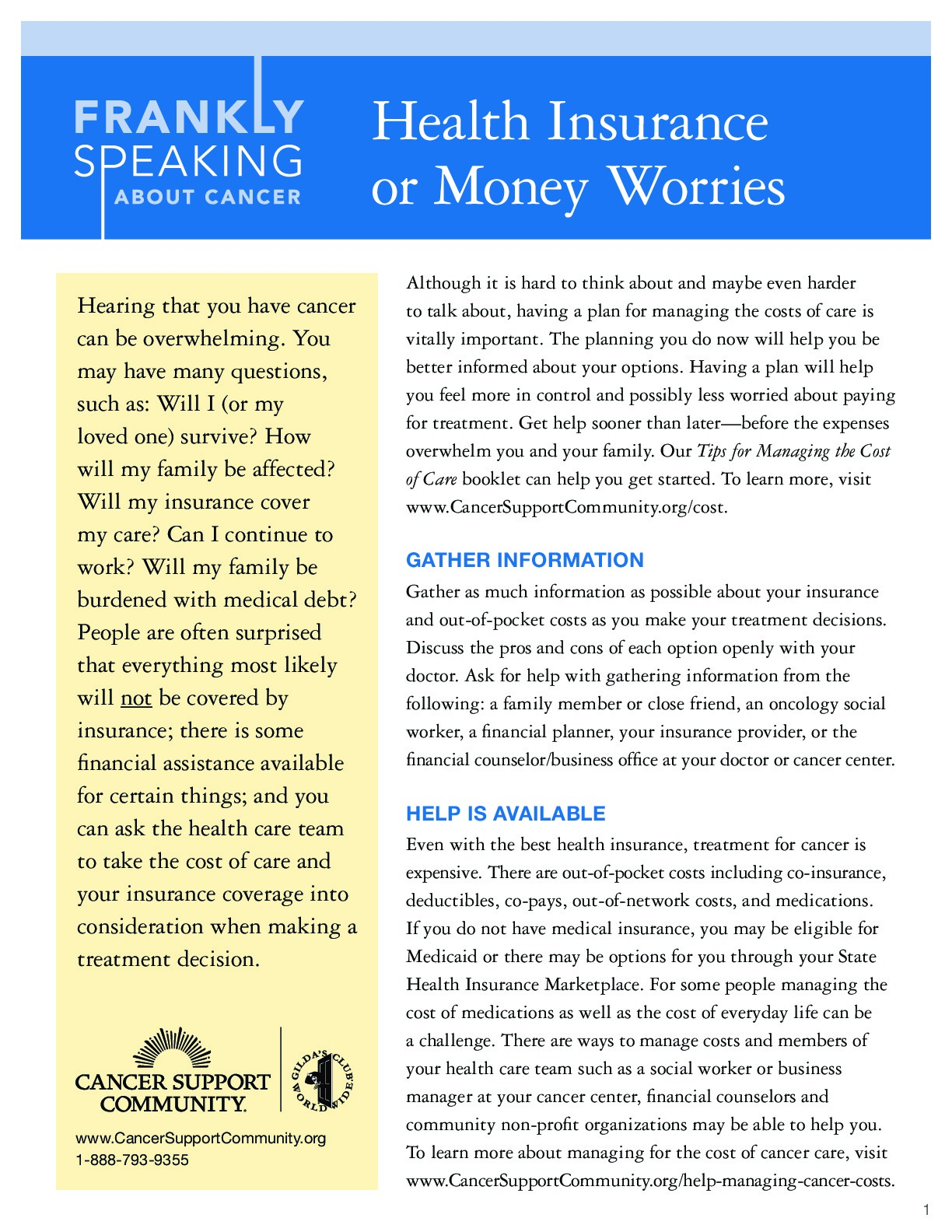 Health Insurance or Money Worries