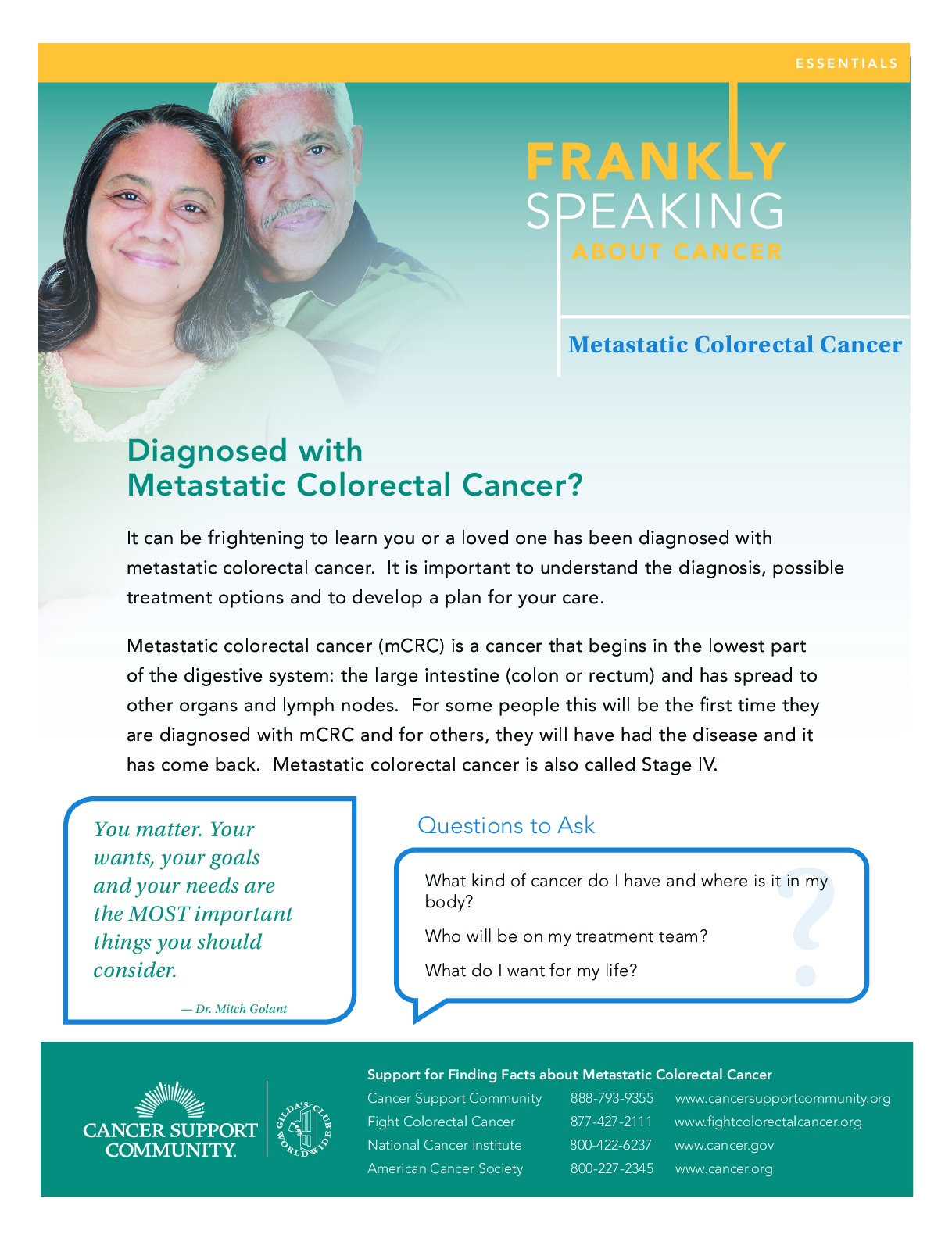 Frankly Speaking About Cancer: Metastatic Colorectal Cancer
