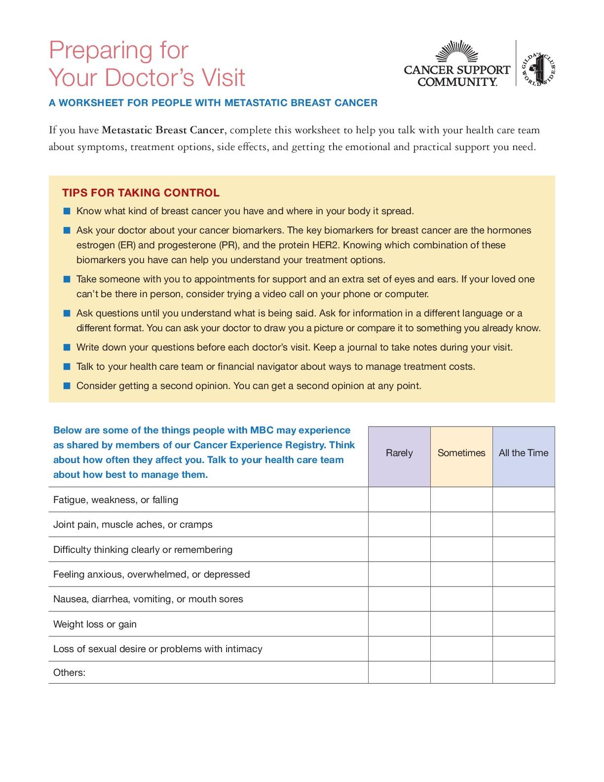 Metastatic BC Worksheet
