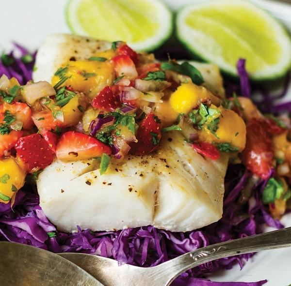 White Fish Tacos with Strawberry Mango Salsa