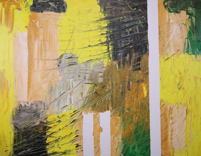 abstract artwork with yellow, orange, green, gray, and white paint