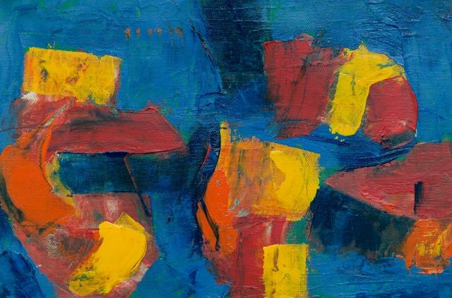 abstract artwork with blue, red, yellow, and orange paint