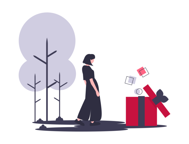 illustration woman with gift box