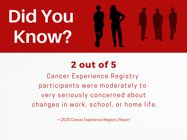 2 out of 5 Cancer Experience Registry participants were moderately to very seriously concerned about changes in work, school, or home life